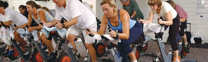 adults in spin class
