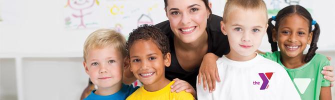 YMCA Child Development happy students with teacher
