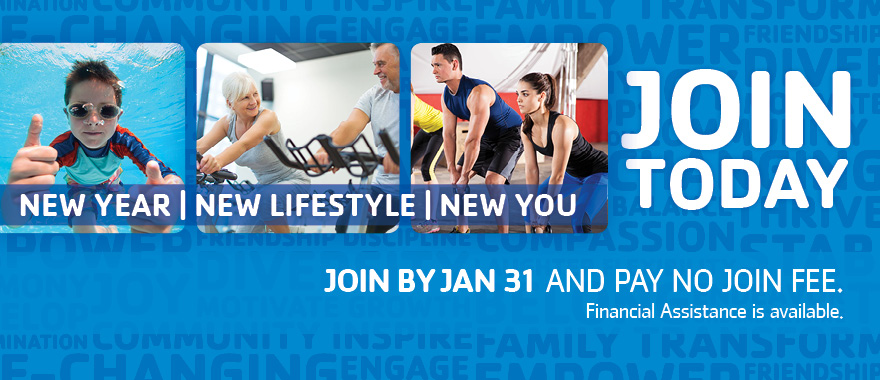 Join the YMCA in January and pay no join fee!