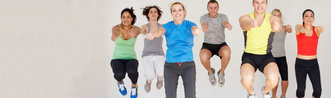 adults in group exercise class