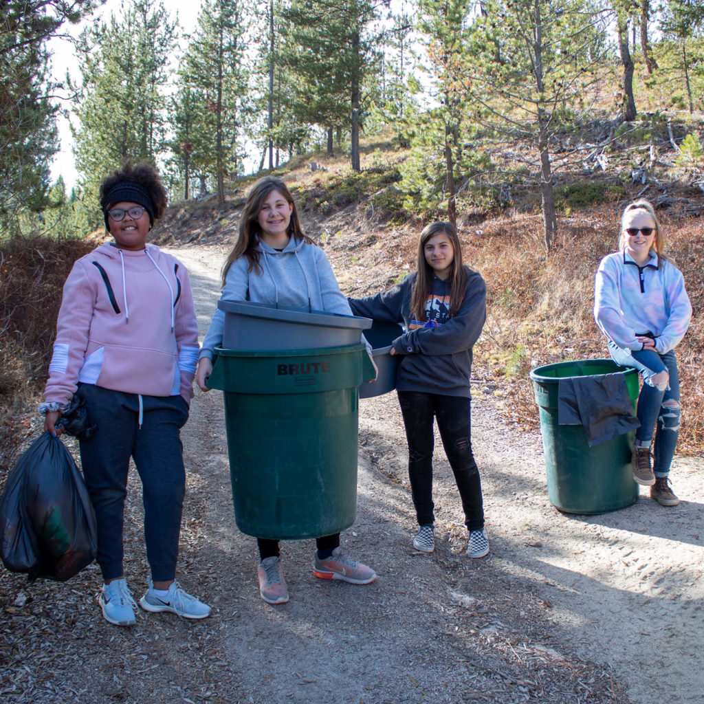 youth volunteering at Y Camp at Horsethief Reservoir